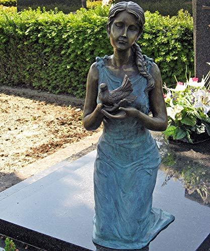 Thermobrass H. Packmor GmbH Bronzeskulptur kniende Frau mit Vogel Grün Dekorationsfigur Grabdekoration