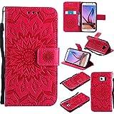 BoxTii Galaxy S6 Hülle [mit Frei Panzerglas Displayschutzfolie], Galaxy S6 Schutzhülle mit Kartenfächern, Premium Lederhülle für Samsung Galaxy S6 (#5 Rot)