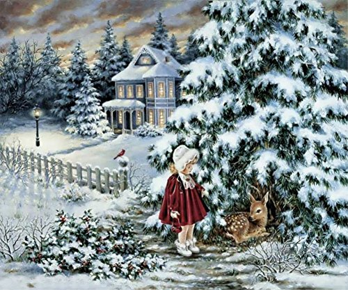 Malen-nach-Zahlen-Set für Erwachsene, Kinder, Gemälde-Mädchen Sika Deer-Weihnachtsbaum, 16x 20cm Framed ()