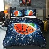 Sookie 3D Digitaldruck Färben Basketball Bettwäsche mit YKK Reißverschluss in blau/orange, weich hautsympathisch, Pfirsichhaut Microfaser, Mehrfarbe, 135 x 200 cm + 48 x 74 cm