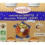 Babybio Pots Compotée de Carotte des Landes Tomate/Pâtes 400 g - Lot de 6