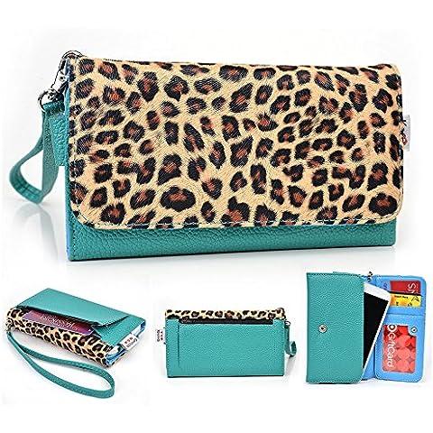 Kroo estuche billetera mitón para Alcatel Pop D5 bakaware E uoogifts // D3 multicolor Emerald Leopard