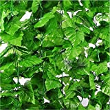 Shopicoo® (Pack of 6 Strings - 8 Ft. Each) Artificial Grape leaves Ivy Vine Garland Hanging Greenery for home office wall window decoration. Fake Plastic Plants Best for Birthday, Christmas Party Decoration