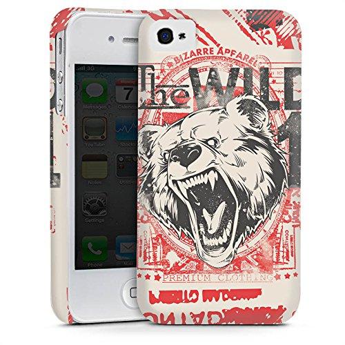 Apple iPhone 4 Housse Étui Silicone Coque Protection Ours Ours Animal Cas Premium mat