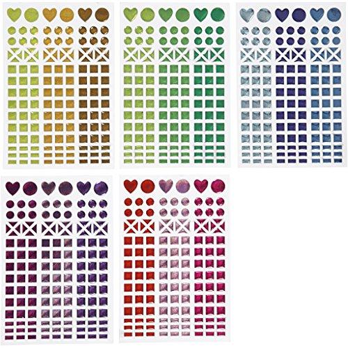 12 X 12 Mosaik (Mosaik-Aufkleber, D: 8-14 mm, Bogen 11x16,5 cm, verschiedene Farben, 10 Blatt)
