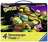 Questa Valigetta in cartone comprende 4 puzzle Ravensburger, 2 da 64 pezzi e 2 da 81 pezzi, tutti con immagini raffiguranti i personaggi della serie animata Ninja Turtles . La valigetta può poi essere usata per trasportare la merenda, i gioch...