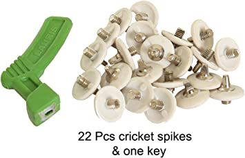 Lauris Cricket White Spikes with Key (Pack of 22)