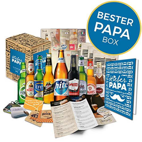 Geschenkidee Papa zum Vatertag Geschenk für Männer | BIERE DER WELT | Geschenkidee für Vater zum Geburtstag oder zum Männertag | Biergeschenk Bester Papa Box (9x0,33l) -