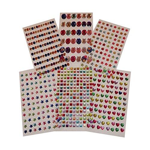 Creation Station - Gemme adesive, ca. 660 gemme distribuite su 6 fogli, forme e colori assortiti