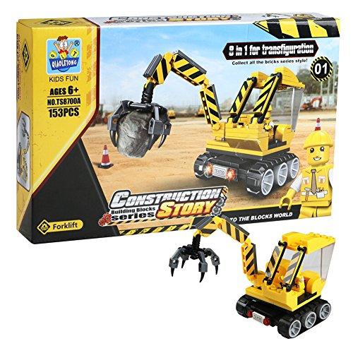 Baustellen Fahrzeuge mit Bauarbeiter Spielzeug Bagger Kran Bulldozer LKW für Kinder, 8 Arten Gelegentliche Anlieferung