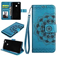 Huawei P9 Lite Wallet Case, EST-EU Retro Mandala Embossing PU Leather Stand Function Protective Covers with Card Slot Holder Wallet Book Case for Huawei P9 Lite, Blue
