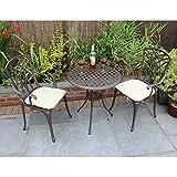Bentley - Set 3 mobili da giardino 1 tavolo e 2 sedie con braccioli - alluminio