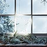 Lights4fun LED Stern Fensterbild Weihnachten Fensterdeko Timer Batteriebetrieb 35cm