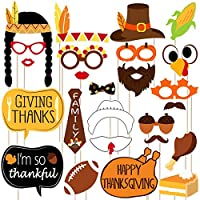 BESTOYARD Thanksgiving Day Photo Booth Props Signs Thanksgiving Day Party Decorations Happy Thanksgiving Party Favor 25PCS
