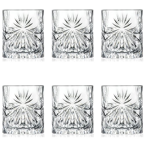 RCR Kristall Oasis Cut Glass Double Old Fashioned Whisky Tumblers - 320ml - Packung mit 6 Whisky-Glas (Old Gläser Fashioned Double)