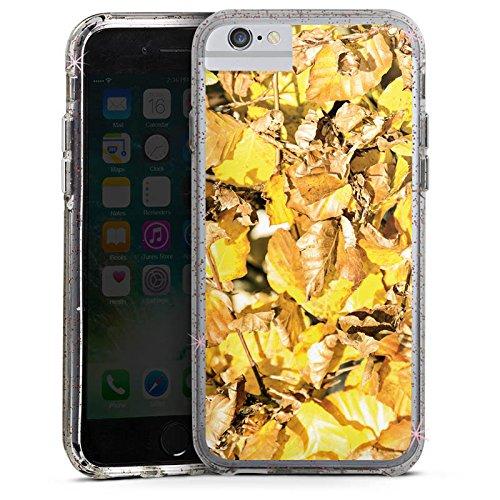 Apple iPhone 7 Bumper Hülle Bumper Case Glitzer Hülle Autumn Herbst Laub Bumper Case Glitzer rose gold