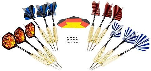 12 Dartpfeile mit Metallspitze 20g Hieronymus Darts I Steel Darts 15 Flights I Steeldart Pfeile Set Steeldarts Dart Wurf