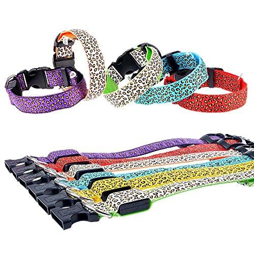 petfun batería USB LED iluminación leopardo patrón Durable Nylon Collar Para Perros de Talla más, pequeño a XL