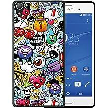 Funda Sony Xperia Z2, WoowCase [ Sony Xperia Z2 ] Funda Silicona Gel Flexible Grafiti de Colores Divertido, Carcasa Case TPU Silicona - Negro