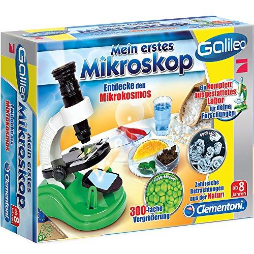 Clementoni Mikroskop, 300-fache Vergrößerung, Petrischale, Reagenzglas, 8 Jahre: Spielzeug Galileo Kinder Kleinmikroskop Experimentierkasten