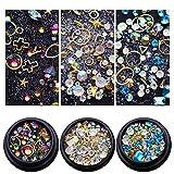 NICOLE DIARY Set de Decoración de Uñas con 3 Cajas de Cristales Decoración Colorida Uñas de Acrílico de Aleación de Aleación de Metal Studs Cuentas Mixtas Tamaños Diferentes Patrones 3D Nail Art