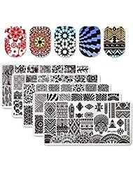 Born Pretty 5Pcs 12 * 6cm Plaque de Stamping Rectangulaire Nail Art Image L046-050