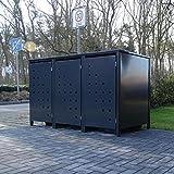 3 Mülltonnenboxen Modell No.3 für 240 Liter Mülltonnen / komplett Anthrazit RAL 7016 / witterungsbeständig durch Pulverbeschichtung / mit Klappdeckel und Fronttür