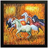 PPD Horse Running Vastu Painting wall painting for room bedroom decor painting vastu painting - (30 x 30 x 3 cms framed painting)…