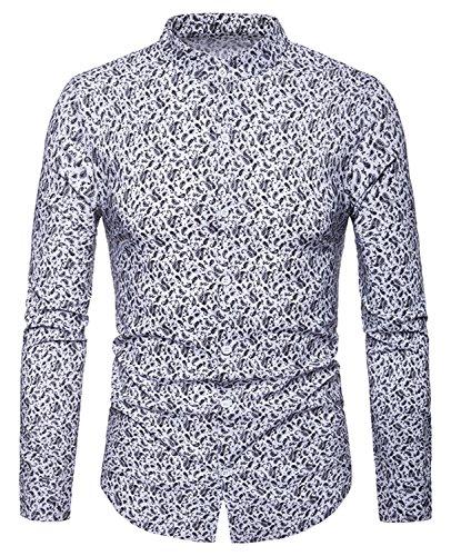 Whatlees camicia stampa paisley uomo - elegante a maniche lunghe bianca 4ad8b251de11