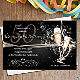 10 Personalised Gold Champagne 18th 21st 30th 40th 50th 60th Adult Birthday Party Invitations N183 - ANY AGE