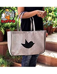 Hippo General Shopping/Grocery Bag - Grey Black- Recycled Polymer Fabric - Very Strong & Long Life - Easy to Clean