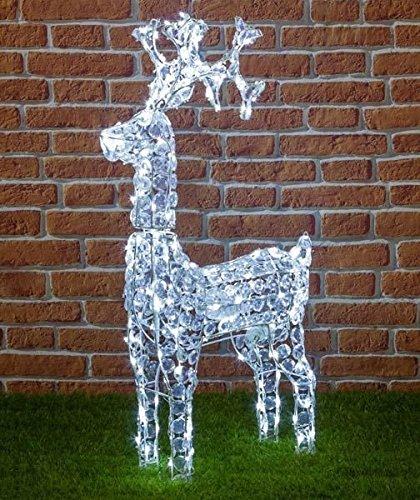 Renna con cristalli, 200 led bianchi, H 90 cm
