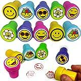 German Trendseller® - 6 x Stempel Mix ┃ Smiley World ┃ Kinder Stempel┃ Selbstfärbend ┃ Emoji ┃ Mitgebsel ┃ Kindergeburtstag ┃ 6 Stück