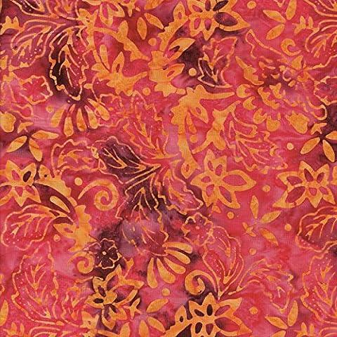 Rosso 100% cotone Bali Batik Tie Dye Patterns tessuto per patchwork e quilting, (prezzo al metro/Quarto