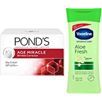 POND'S Age Miracle Wrinkle Corrector Day Cream SPF 18 PA++ 20g And Vaseline Intensive Dry Care Aloe Fresh Body Lotion…