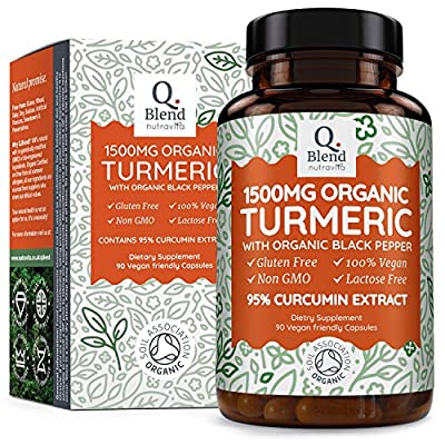 Organic Turmeric Curcumin 1500mg with Black Pepper 95% Curcuminoids | Highest Potency Capsules | Premium Joint Support | Non-GMO & Gluten Free | Soil Association Certified