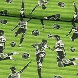 Stoffe Werning Baumwolljersey Fußballspieler grün schwarz