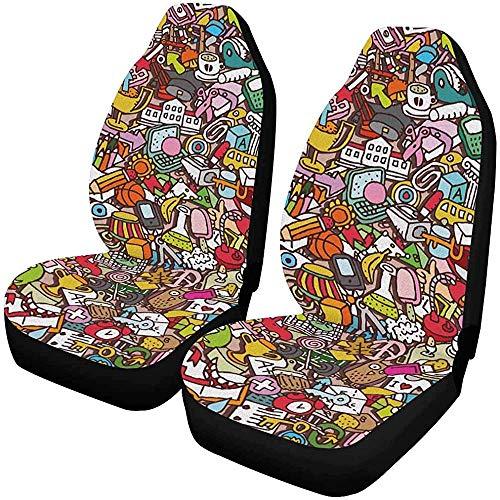 Gene Spencer Schulmuster mit Mini-Doodle-Zeichnungen Autositzbezug Nur Vordersitze 2er-Set, vollständiger Sitzschutz, Vordersitzkissen für Haustiere, die im Fitnessstudio laufen