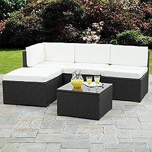 Rattan Corner Sofa Garden Furniture Sets (Black)