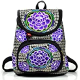 Girls Embroidery Cloth Backpacks - MeMoreCool Big Flower In Vibrant Color Ethnic Feelings Travel School Bags Purple
