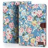 iPad Mini3 Housse,iPad Mini2 Coque,iPad Mini Etui, Deenor Retro Flowers Design PU Cuir Coque Stand Flip Etui Housse de Protection pour Apple iPad Mini 1/2/3 Generation.(Blue Flowers )