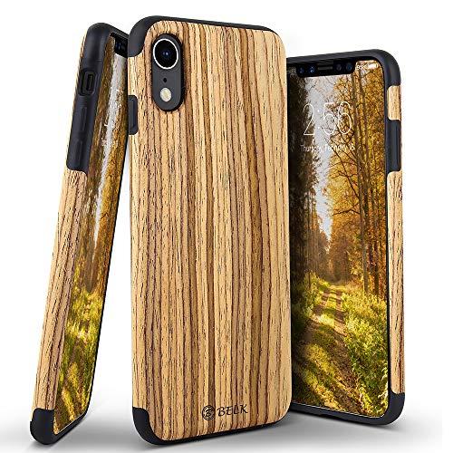 Belka Schutzhülle für iPhone XR 6,1 Zoll (6,1 cm), Weiches Holz, Hybrid, Flexibles TPU-Kissen, stoßfeste Holzschale für Apple iPhone XR 6,1 Zoll 2018, Walnuss, iPhone Xr - Teak -