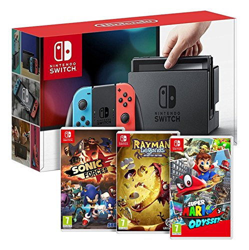 Console Nintendo Switch Neon + Rayman Legends + Sonic Forces + Super Mario Odyssey