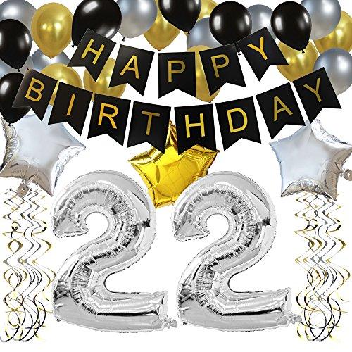 KUNGYO 22. Geburtstag Party Dekorationen Satz Schwarz Happy Birthday Banner Silber 22 Mylar Folienballon Star & Latex Ballon Hängende Wirbel Alles Gute Zum Geburtstag Zubehör Für 22 Jahre Alt.