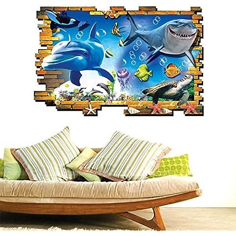 MEIJING 3D pared del agujero opinión subacuática Ocean World Dolphin tiburón pegatinas de pared Inicio Etiqueta Decoración mural del arte desprendible de la pared (C)
