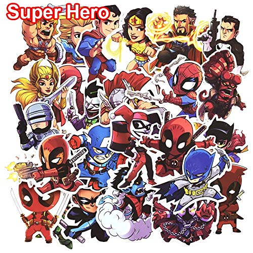 Stickers - Pcs Don't Repeat Super Hero Cool Stickers for Laptop Car Styling Phone Bicycles Luggage Motorcycle PVC Waterproof Sticker - by Classic Toys - 1 PCs
