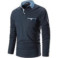 GNRSPTY Polo Manica Lunga Uomo Maglietta Denim Collare Maglia Elegante Cotone T-Shirt Golf Tennis Lavoro Camicia
