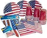 HEKU Einweg-Party-Set 'USA' mit Tellern, 'Red-Cup'-Bechern, Servietten, Deko-Pickern und einer Wimpelkette, 171-teilig