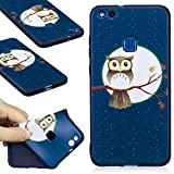 Huawei P10 Lite Case, Huawei P10 Lite Silicone TPU Transparent Cover, COZY HUT Premium Ultra Slim Thin Silicone Flexible Quality TPU Soft Pattern Design Cute Black Cover, Gel Plastic Protective Shock Absorption Proof Drop Defend Anti Scratch Shell for Huawei P10 Lite - Moon Owl