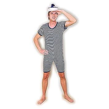 monopezzo retro blu bianco costume da bagno alla marinara uomini m 5052 tenuta da mare a righe per maschi outfit da spiaggia anni 20 e 30 completo da